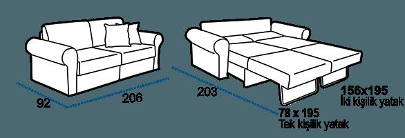 Seray Sercity ikili yataklı kanepe ölçüleri