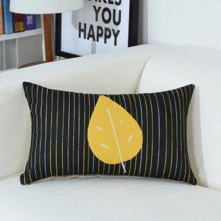 Sarı Siyah Yaprak Desen Kırlent