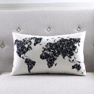 Dünya Desen Kırlent (Beyaz)