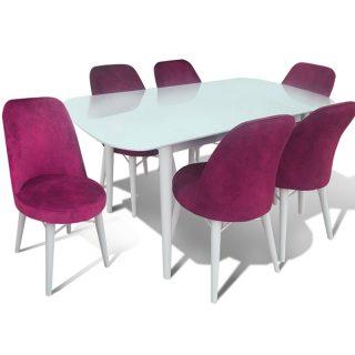Aysan Beyaz Lake Mutfak Masası & 6 Sandalye