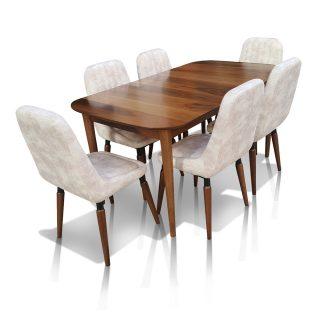 Aysan Naturel Ceviz Mutfak/Balkon Masası & 6 Sandalye