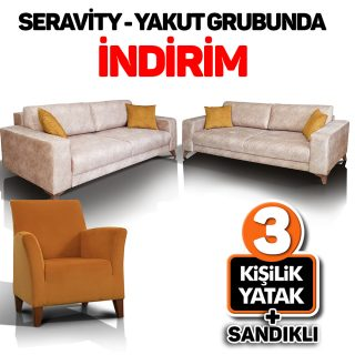 Seravity – Yakut Grup (3'lü kanepe+3'lü yataklı kanepe+koltuk)